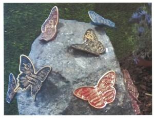 Butterflies Installed on Rock Photo